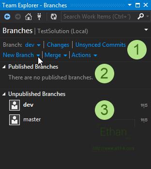 Branches บน Team Explorer window