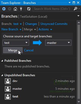 Merge Branch บน Team Explorer window