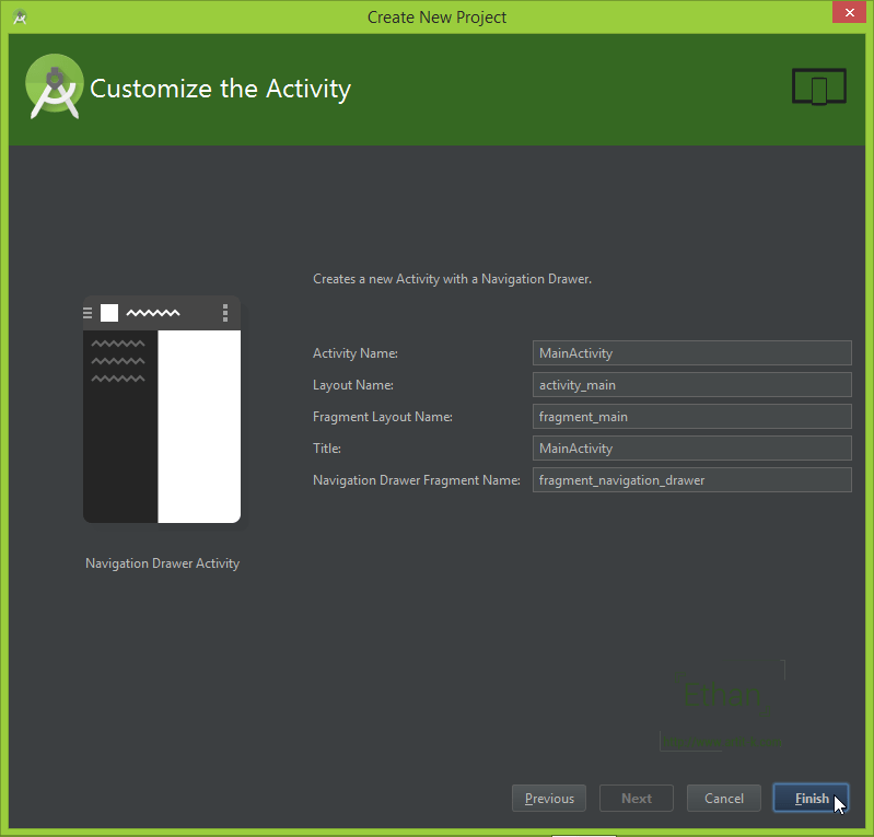 Create New Project Dialog