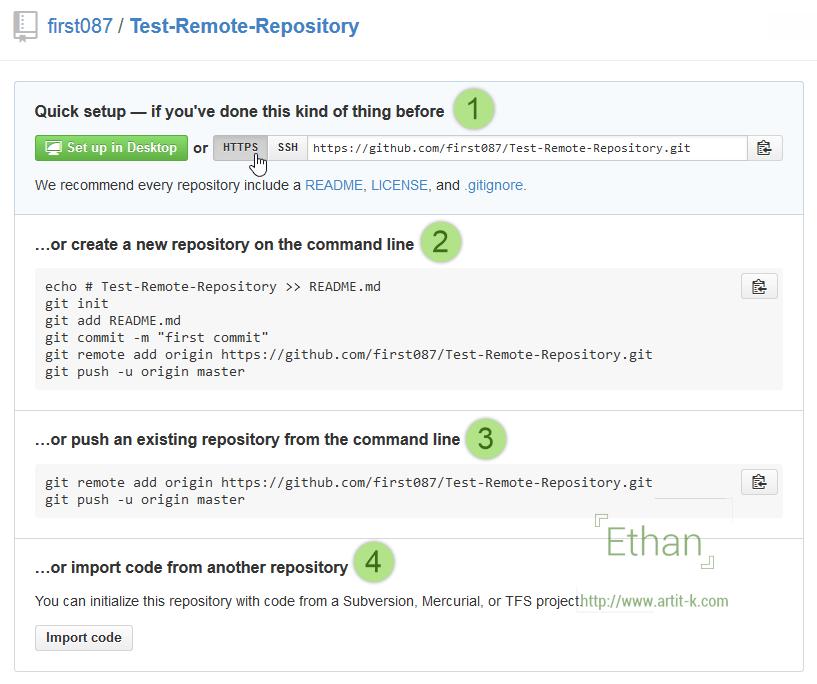 ตัวเลือกเมื่อสร้าง Repository เรียบร้อย