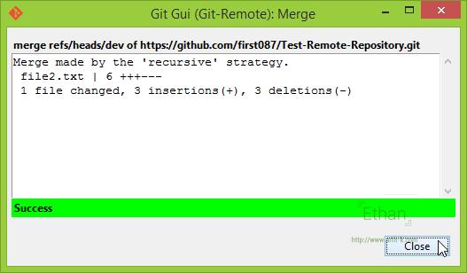 Git GUI แสดงผลการ Merge