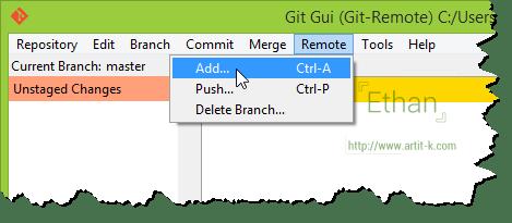 เมนู Remote บน Git GUI