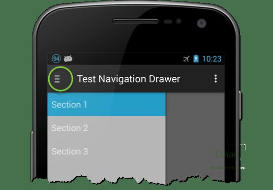 Hamburger icon บน Action Bar ทดสอบบน Android 4.3