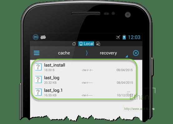 ไฟล์ log จาก Recovery Mode เปิดด้วย App ES File Explorer