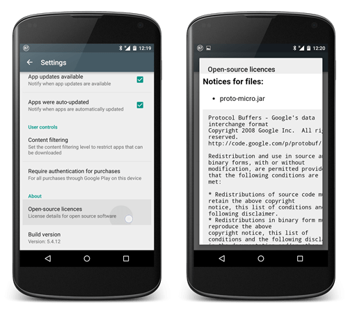 Open-source licenses บน Google Play Store app