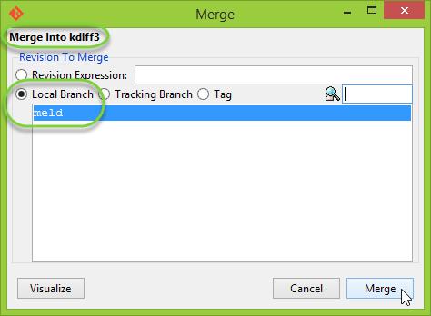 Merge Dialog ของ Git GUI