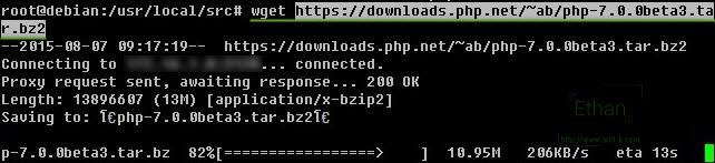 Download php 7 Beta 3 ด้วย wget