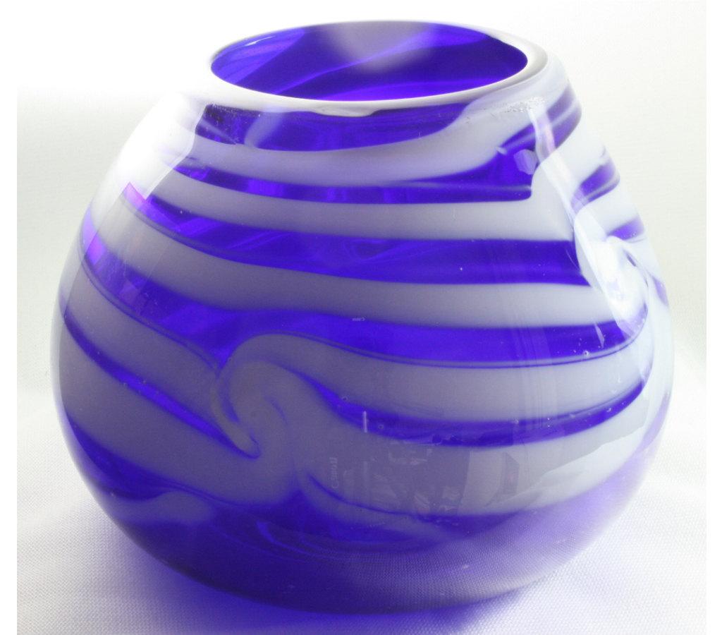 Elliott Glass closed cobalt blue bowl