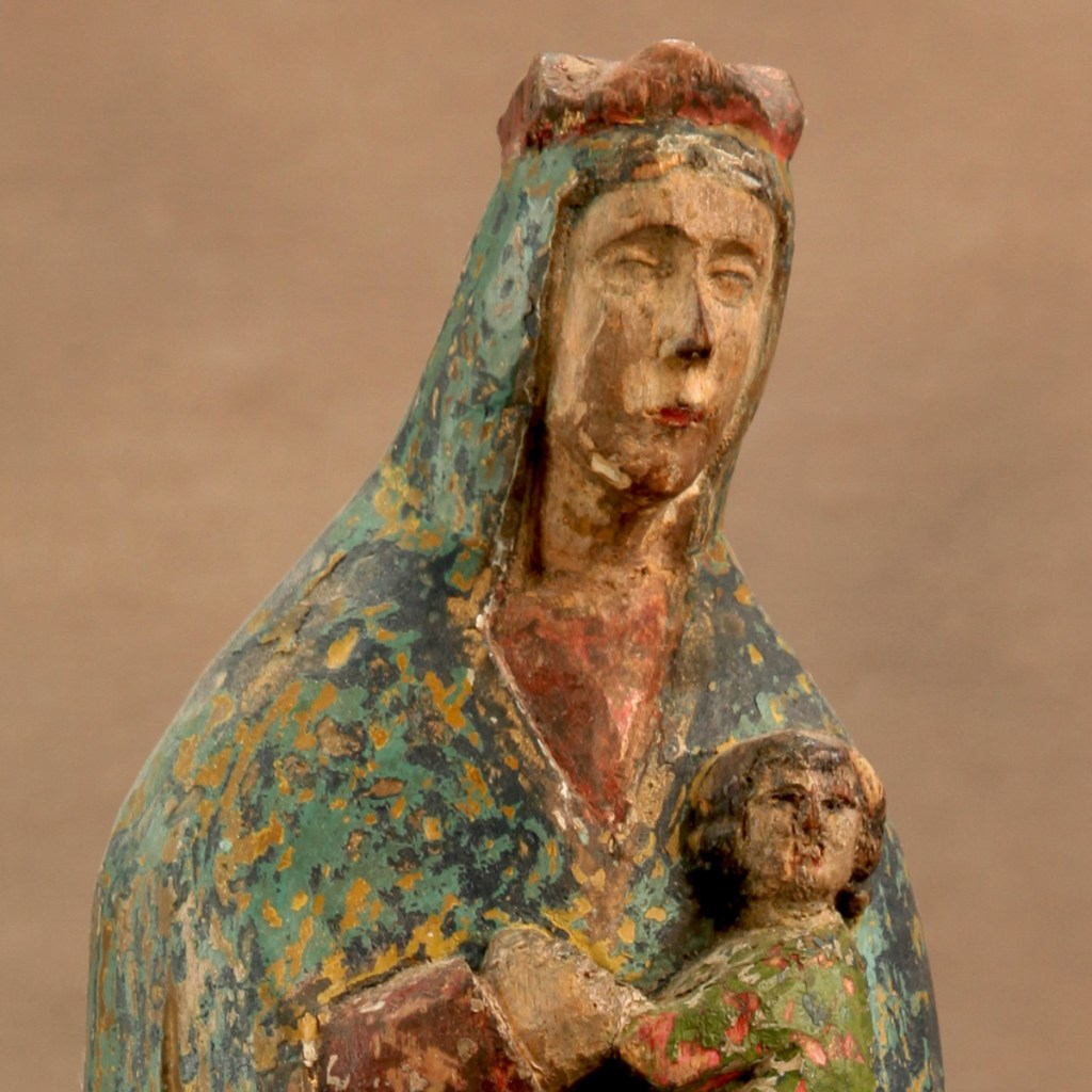 Sir Raffles Art History - Antique Saint, Mother Mary with Child Jesus, c 1900-30, Philippines, Spanish Colonial Santos