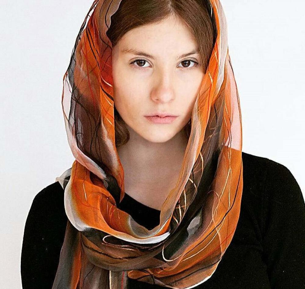 Singing Scarves - Hand painted silk scarf, flaming orange
