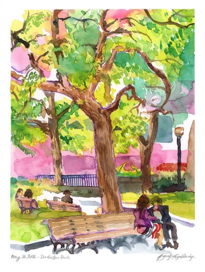 dorchester park montreal watercolor painting