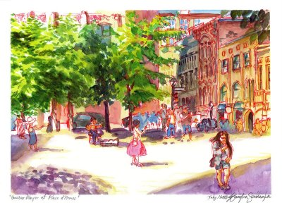 guitar player at place d'armes watercolor painting