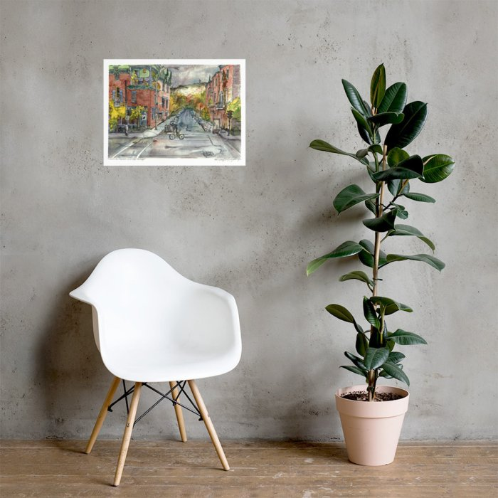 Montreal City Art - Extra Large Wall Art Prints of Santropol Cafe, Mont Royal, Quebec, Canada in Watercolor and Ink by Karolina Szablewska