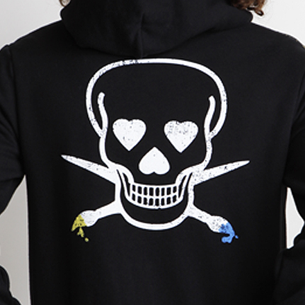 Skullmate Hoodie Back Detail Black