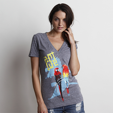 Birds of Paradise Vintage Grey V-Neck