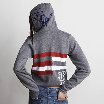 Freedom Womens Hoodie Dark Heather Back