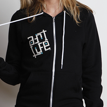 Paint the World Womens Hoodie Black Detail