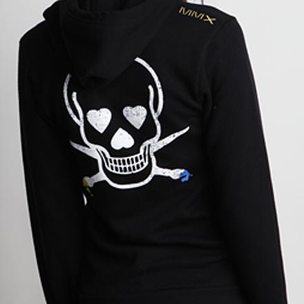 Skullmate Womens Hoodie Black Detail Back 2