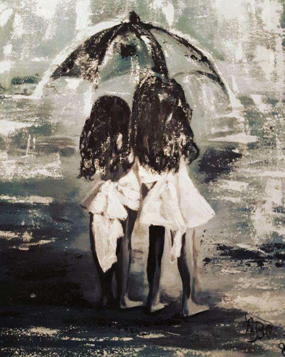 Fillettes Sous La Pluie Peinture Par A Brunello Artmajeur