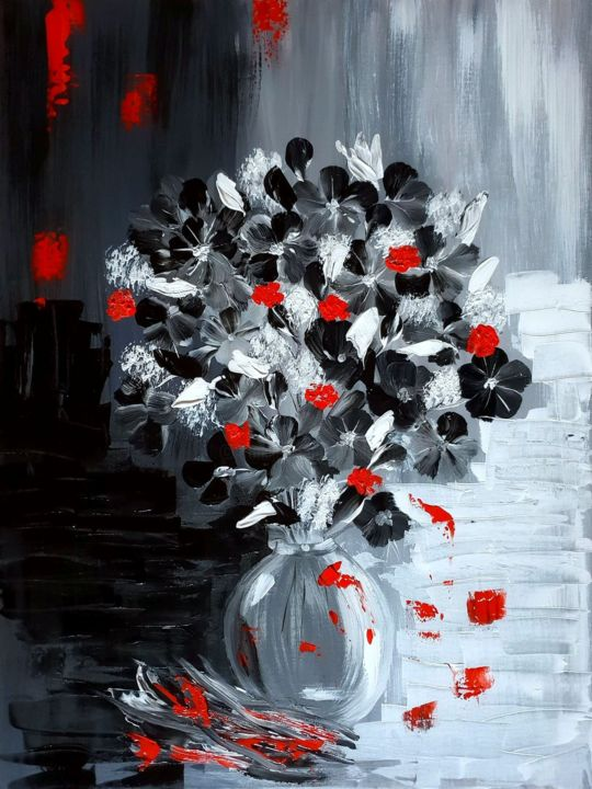 Fleurs Noirs Peinture Acrylique Peinture Par Beata Dautrey Artmajeur