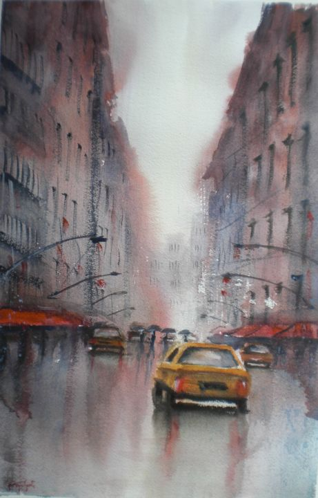 rainy day in NYC  Giorgio Gosti  rainy day in NYC   Painting  53x34x1 cm     2018 by Giorgio Gosti    Impressionism