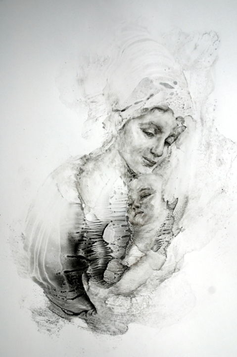 Mother And Child Drawing By Inna Komarova Artmajeur