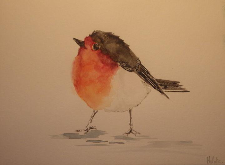 petit rouge gorge peinture par laura
