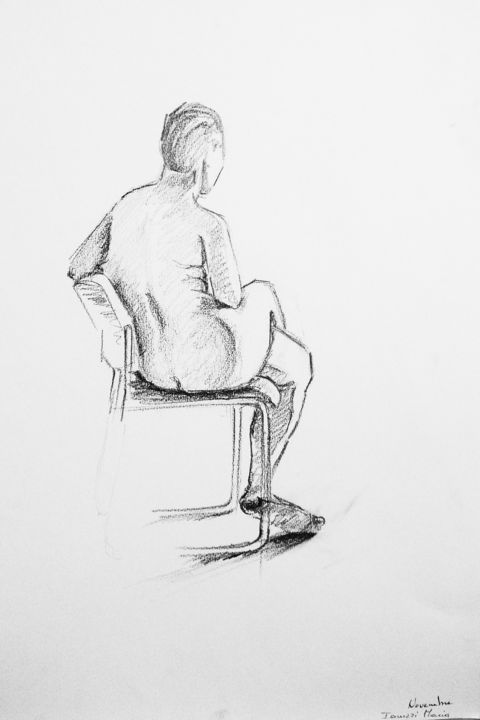 femme nue assise sur une chaise dessin