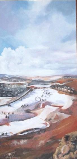 """""""Golf à Calgary"""" Acrylique sur toile 12 x 22. 2006"""