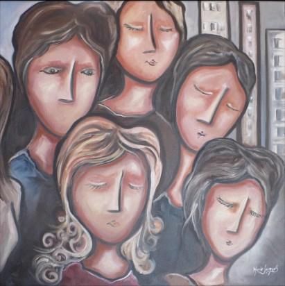 """""""Les uns sur les autres"""" Huile sur toile 24 x 24. 2012"""