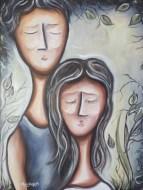 Seuls ensemble, huile sur toile 16 x 20, 2012