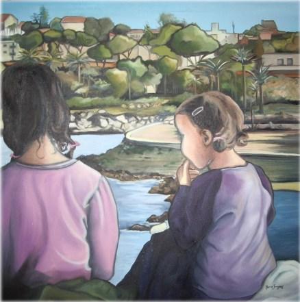 """""""Noa et Talie"""" Huile sur toile"""" 30 x 30. 2006 VENDU"""