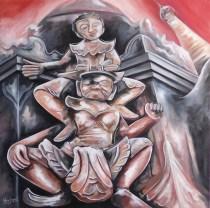 La fascinante danse de Kakku Huile et acrylique sur toile, 30 x 30 po