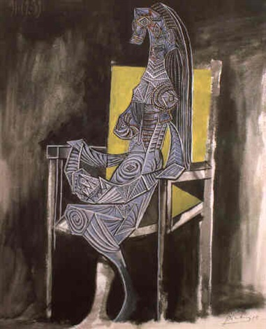 femme assise dans une chaise by pablo picasso on artnet