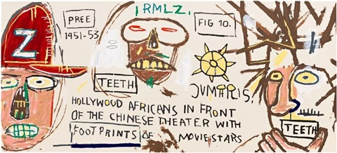 hollywood africans in front of the chinese theater with footprints on movie stars by jean-michel basquiat