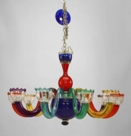 Italian Multicolored Murano Glass Chandelier By Gio Ponti