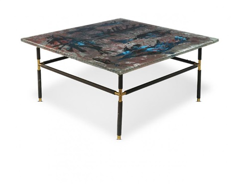 a glass topped coffee table for fontana arte italy c 1950s the glass inscribed dube fontana arte the reverse painted glass top with abstract design raised on brass and black enamelled steel legs