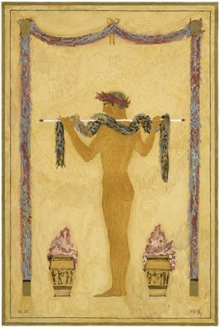 griechischer jüngling mit lorbeerkranz in pompejanischer rahmung by sascha alexander schneider