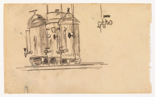 Edward Hopper, Study for Nighthawks, 1941 or 1942, fabricated chalk on paper, 4 7/16 x 7 3/16in. COURTESY WHITNEY MUSEUM OF AMERICAN ART, NEW YORK; JOSEPHINE N. HOPPER BEQUEST 70.192. ©HEIRS OF JOSEPHINE N. HOPPER, LICENSED BY THE WHITNEY MUSEUM OF AMERICAN ART. DIGITAL IMAGE, © WHITNEY MUSEUM OF AMERICAN ART, NY.