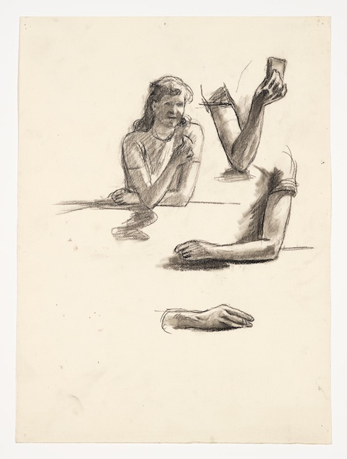 Edward Hopper, Study for Nighthawks, 1941 or 1942, fabricated chalk and charcoal on paper, sheet: 15 1/16 x 11 1/16in. COURTESY WHITNEY MUSEUM OF AMERICAN ART, NEW YORK; JOSEPHINE N. HOPPER BEQUEST 70.256. ©HEIRS OF JOSEPHINE N. HOPPER, LICENSED BY THE WHITNEY MUSEUM OF AMERICAN ART. DIGITAL IMAGE, © WHITNEY MUSEUM OF AMERICAN ART, NY.
