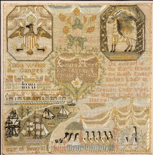 Laura Hyde, Embroidered Sampler, 1800, silk on linen, embroidered. COURTESY THE METROPOLITAN MUSEUM OF ART, ROGERS FUND, 1944.