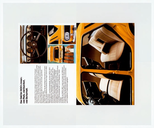 Christopher Williams, Brochure for Dacia 1300I, 2005, chromogenic print. COURTESY OF THE ARTIST, GALERIE GISELA CAPITAIN, COLOGNE AND DAVID ZWIRNER GALLERY, NEW YORK.