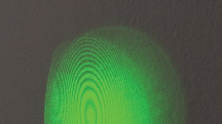 Green light on a wall with