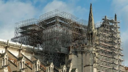 Restoration work at Notre-Dame Cathedral, Paris,