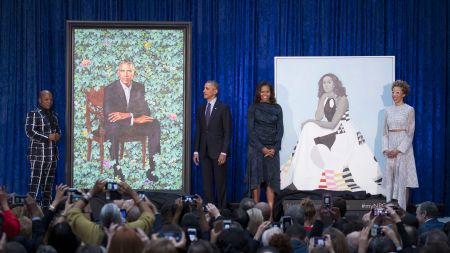 The Obamas at the unveiling of
