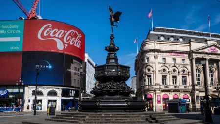 An empty Piccadilly Circus in London.