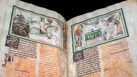 """Medieval manuscript with """"Opening the Fourth"""