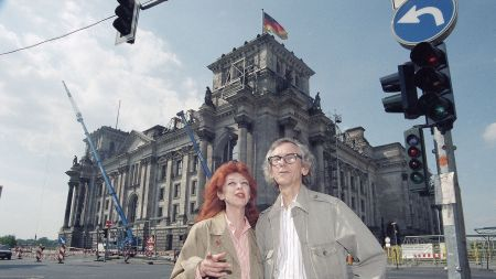 Christo and Jeanne-Claude in front of