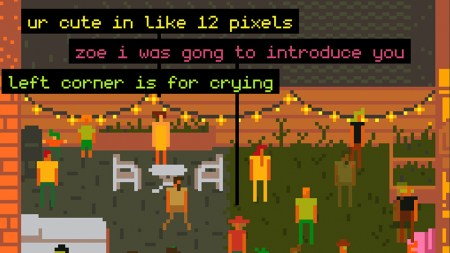 8-bit avatars socialize in a virtual