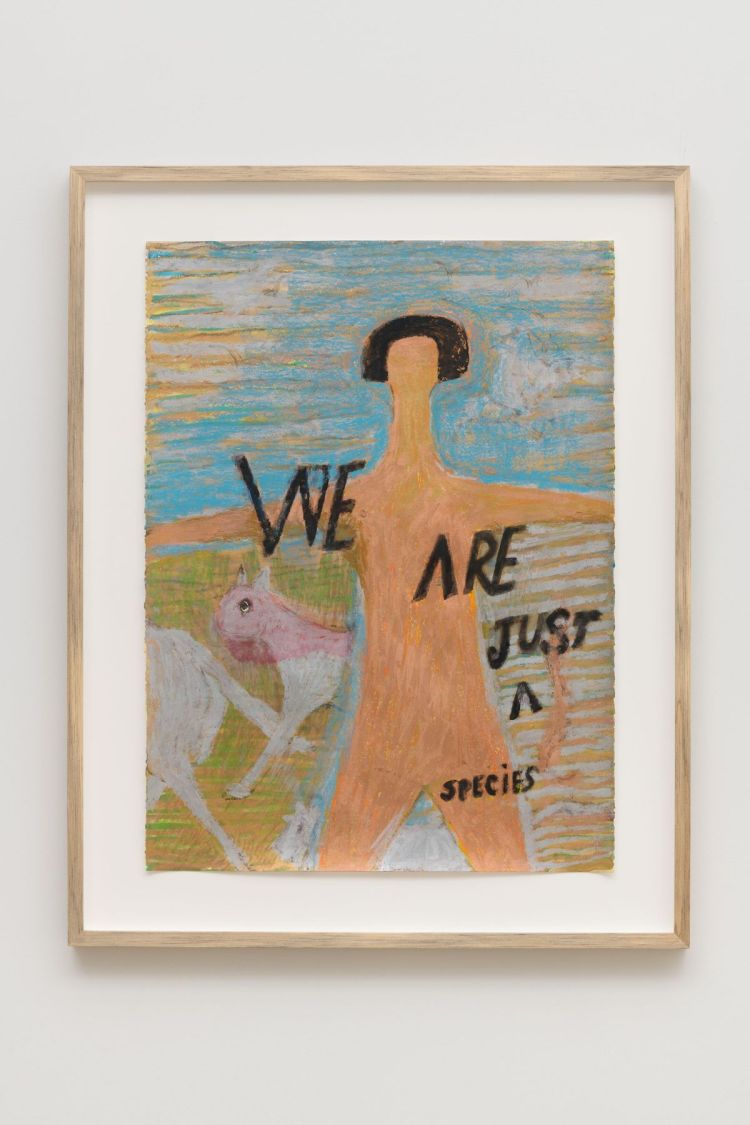 Luchita Hurtado, 'Untitled,' 2018. A nude form appears alongside two animals with the phrase 'WE ARE JUST A SPECIES.'
